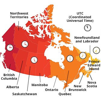 How Many Time Zones in Canada